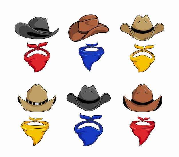 Set cartone animato cappello da cowboy e sciarpa