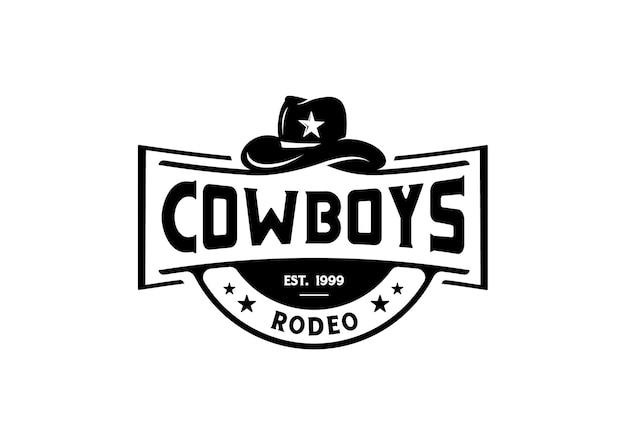 Modello di ispirazione per il design del logo vintage in stile occidentale del cappello da cowboy