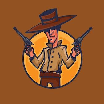 Revolver della holding del cowboy. concept art del selvaggio west in stile cartone animato.