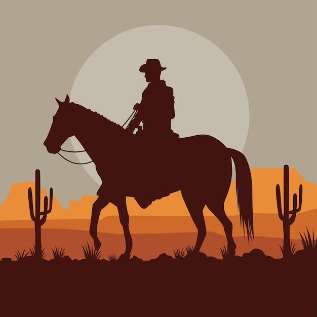 Cowboy nella scena del paesaggio del deserto del cavallo