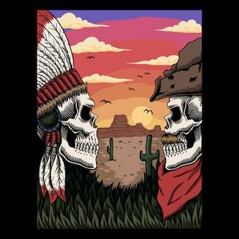 Cowboy e illustrazione indiana