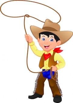 Ragazzo da cowboy che rotea un lazo