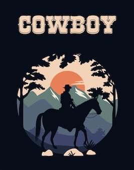 Iscrizione del cowboy nella scena del selvaggio west con il cowboy a cavallo
