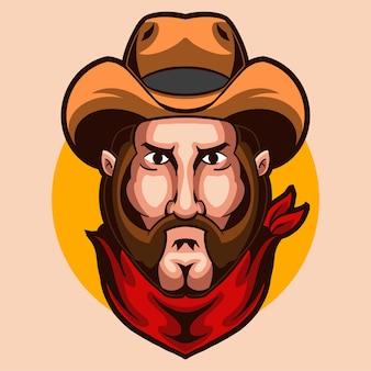 Cowboy uomo testa illustrazione design isolato