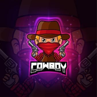 Mascotte cowboy esport logo colorato