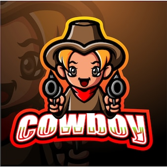 Cowboy mascotte esport illustrazione