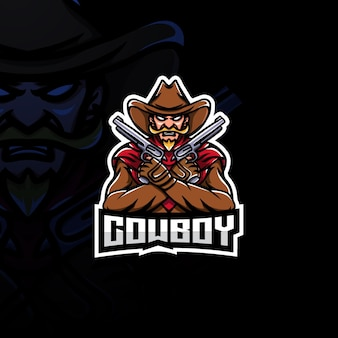 Logo esport della mascotte del cowboy.