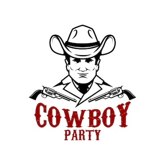 Festa da cowboy. cowboy con illustrazione di revolver Vettore Premium