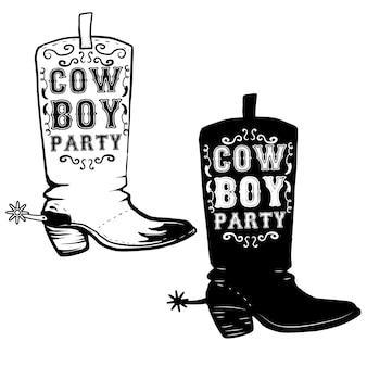 Festa da cowboy. illustrazione disegnata a mano degli stivali del cowboy. elemento per poster, volantino. illustrazione