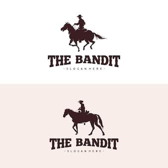Cowboy a cavallo silhouette logo design