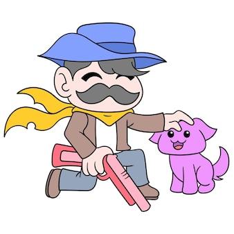 Uno sceriffo cowboy porta un fucile da caccia in modo amichevole con il suo cane, illustrazione vettoriale. scarabocchiare icona immagine kawaii.