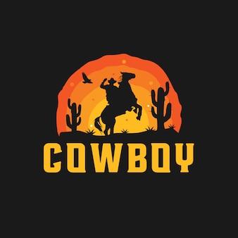 Logo silhouette da cowboy
