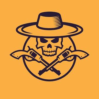Scheletro da cowboy con revolver. concept art del selvaggio west in stile monocromatico.