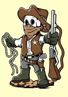Illustrazione disegnata a mano del cranio del cowboy