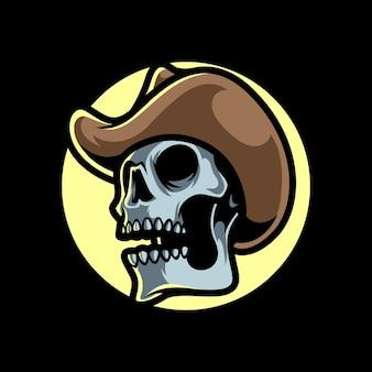 Logo mascotte testa di teschio cowboy