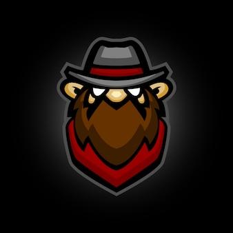 Cowboy con logo mascotte barba marrone