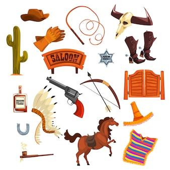 Cowboy accessori e simboli illustrazioni su uno sfondo bianco