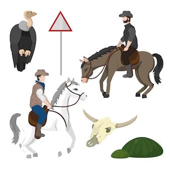 Cowboy ed elementi del deserto
