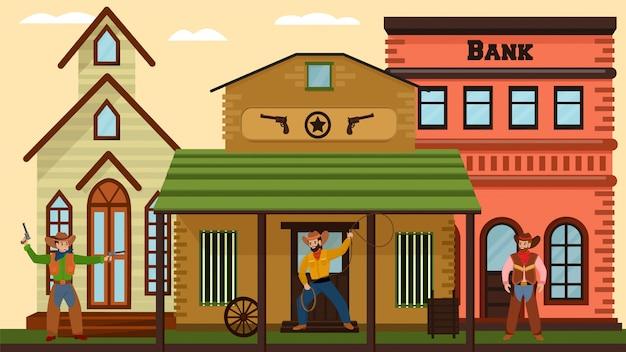 I cowboy duellano vicino alla banca, città nel selvaggio west in stile americano, vecchie case del villaggio, salone, illustrazione di stile del fumetto di progettazione.
