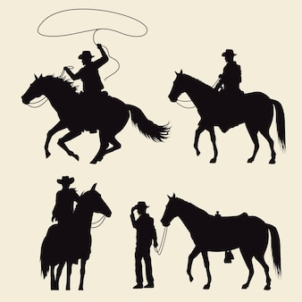Cowboy con sagome di animali di cavalli Vettore Premium