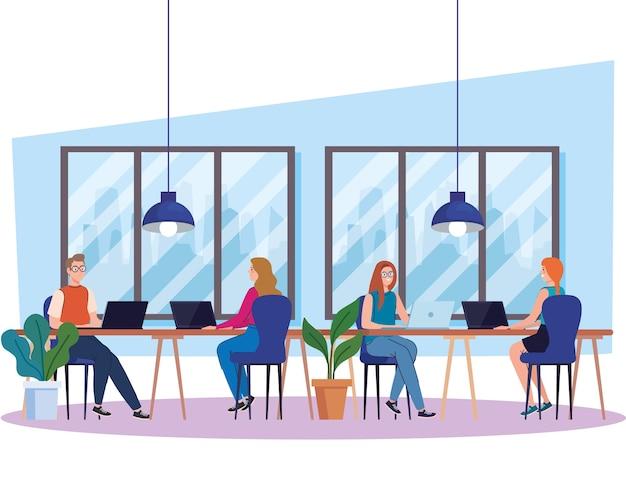 Spazio di coworking, gruppo di persone con laptop in grande scrivania, illustrazione di concetto di lavoro di squadra