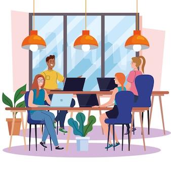 Spazio di coworking, gruppo di persone con laptop nelle scrivanie, illustrazione di concetto di lavoro di squadra