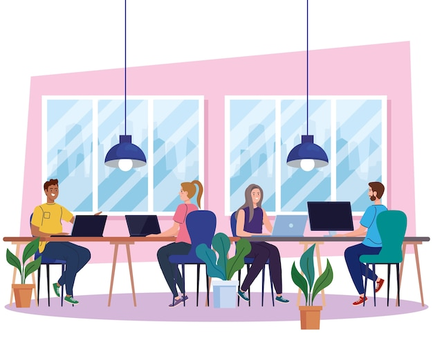 Spazio di coworking, giovani con computer nella grande scrivania, illustrazione di concetto di lavoro di squadra