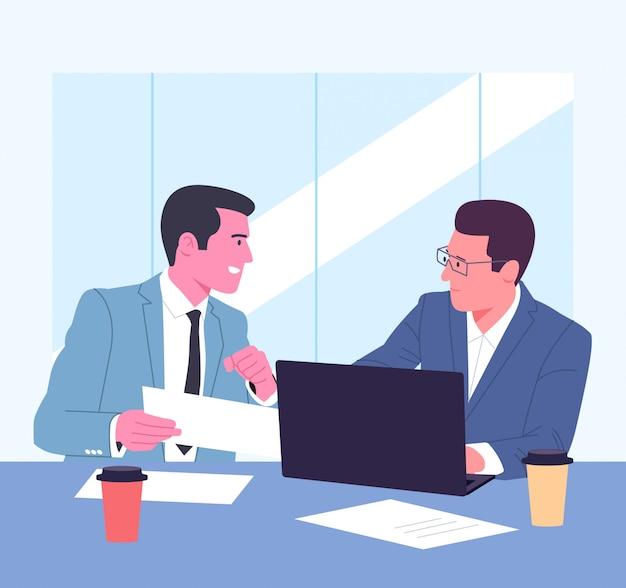 Coworking, team, formazione, discussione, concetto di business.