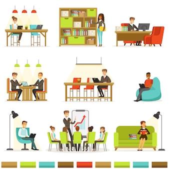 Posto di lavoro di coworking, liberi professionisti che condividono spazio e idee in ufficio dove lavorano insieme raccolta di illustrazioni