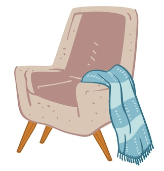 Intimità e interior design di casa o ufficio. icona isolata di comoda poltrona con plaid o coperta a maglia. atmosfera familiare e stile minimalista dell'abitazione o dell'appartamento. vettore in piatto