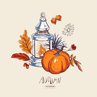 Accogliente biglietto di auguri autunnale, foglie di arancio, fiori, pigna, bacche, zucca, lanterna e farfalle