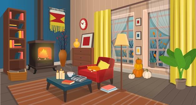 Accogliente soggiorno autunnale con camino, poltrona, tavolo, finestre, libreria, lampada. illustrazione in stile cartone animato.