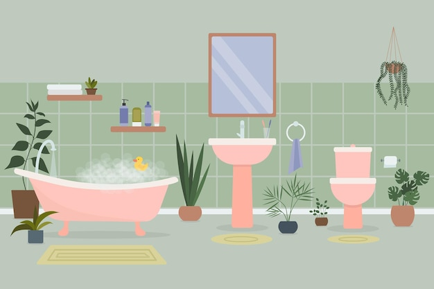 Interno accogliente del bagno con vasca piena di schiuma e accessori da bagno e piante che crescono in vaso