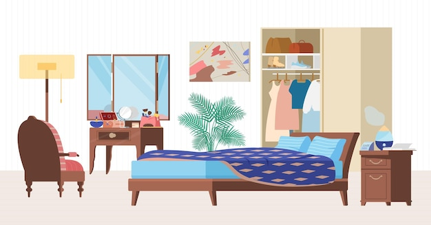 Illustrazione piana interna accogliente della camera da letto. mobili in legno, letto, poltrona, specchiera, armadio con vestiti, comodino con umidificatore, orologio, pianta.
