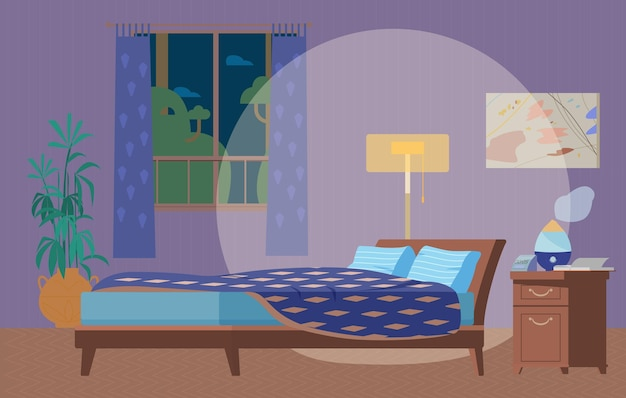 Illustrazione piana interna accogliente della camera da letto di notte. mobili in legno, letto, lampada da terra, finestra, comodino con umidificatore, orologio, piante.