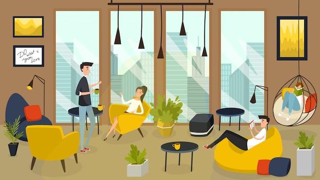 Caffè accogliente nel centro di affari, caffè in città moderna, illustrazione della gente Vettore Premium