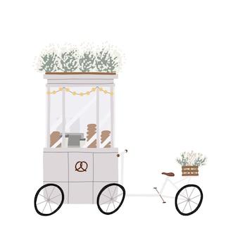 Caffè accogliente, bici mobile e cestino con ruote per la vendita di fast food.