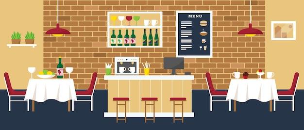 Accogliente caffetteria o ristorante con bar, caffetteria e tavoli. illustrazione degli interni.