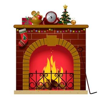 Accogliente caminetto natalizio con calza e decorazioni