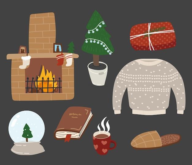 Accoglienti adesivi natalizi, icone disegnate a mano isolate e simboli delle vacanze invernali, illustrazione vettoriale