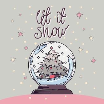 Accogliente globo di neve di natale con albero di natale e regali. scritte a mano.