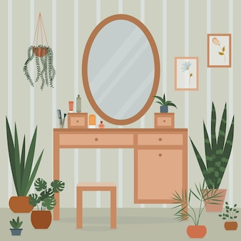 Interni accoglienti con toletta, grandi specchiere, cosmetici, piante d'appartamento e piante in vaso