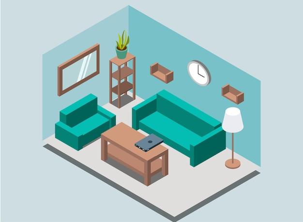 Accogliente sfondo interno del soggiorno di casa con scaffali per libri, scaffale, lampada, pianta, poltrona, divano, orologio da parete, specchio, tavolo, laptop.