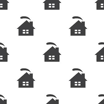 Casa accogliente, motivo vettoriale senza soluzione di continuità, modificabile può essere utilizzato per sfondi di pagine web, riempimenti a motivo
