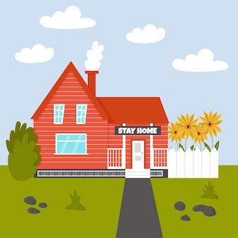 Casa accogliente resta a casa recinzione estiva di girasoli