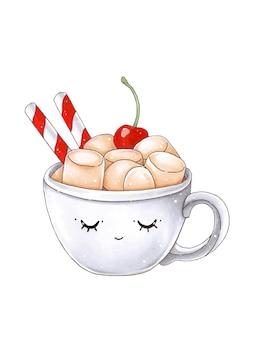 Illustrazione accogliente con tazza mug, ciliegia e marshmallow