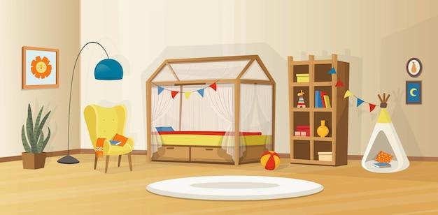 Interni accoglienti per bambini con giocattoli, letto, libreria, poltrona, tenda per bambini e lampada. interno di vettore scandinavo in stile cartone animato.
