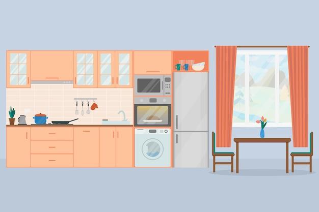 Illustrazione vettoriale piatto interno cucina accogliente frigorifero forno microonde lavatrice