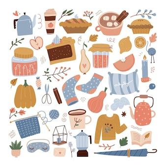 Accogliente grande set autunnale carino autunno begerage lascia cibo arredamento d'interni in una tavolozza di colori pastello alla moda i...