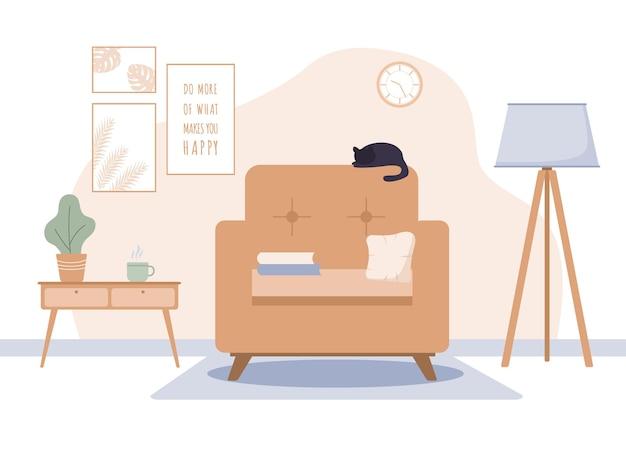 Accogliente soggiorno interno con mobili